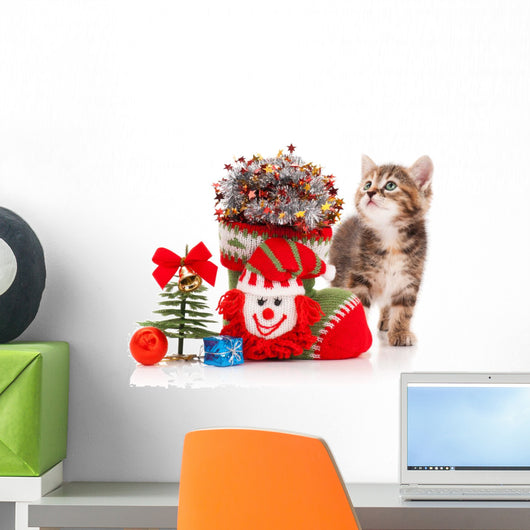 Happy Holidays kitten Wall Decal