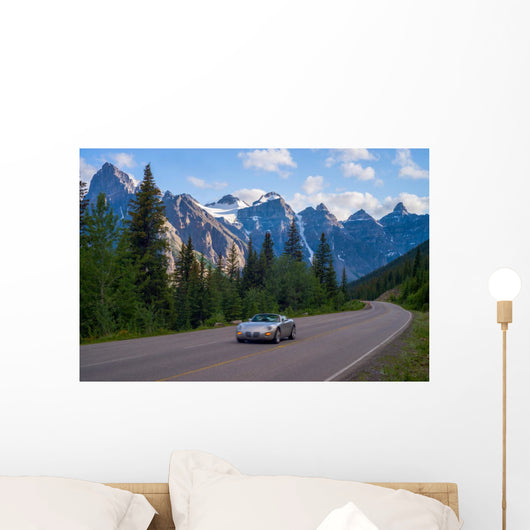 sports car, moraine lake road Wall Mural