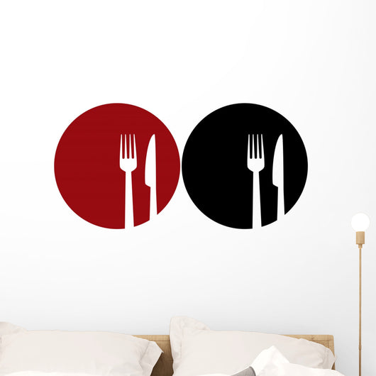 plate with fork and knife Wall Decal