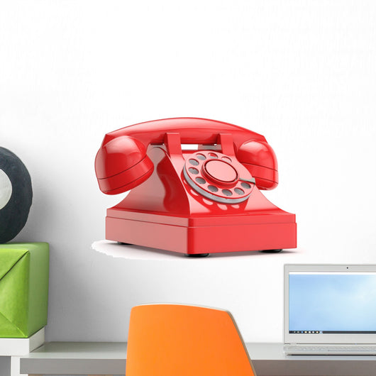 retro (vintage) red phone Wall Decal