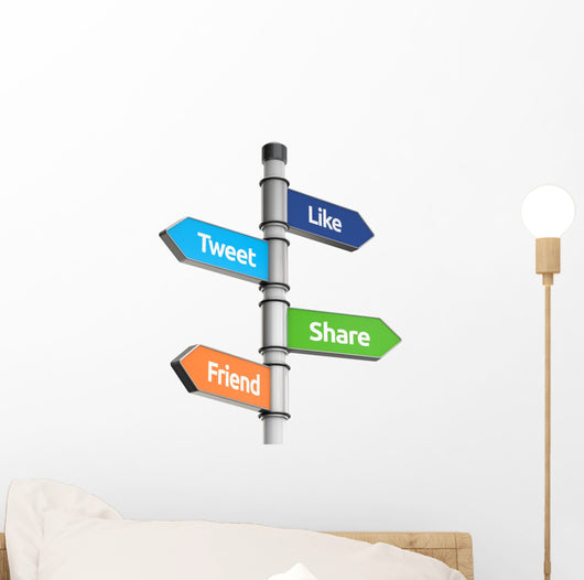 social media signpost for direction (like, tweet, friend, share, Wall Decal