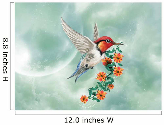 Fantastic  hummingbird with flowers Wall Mural