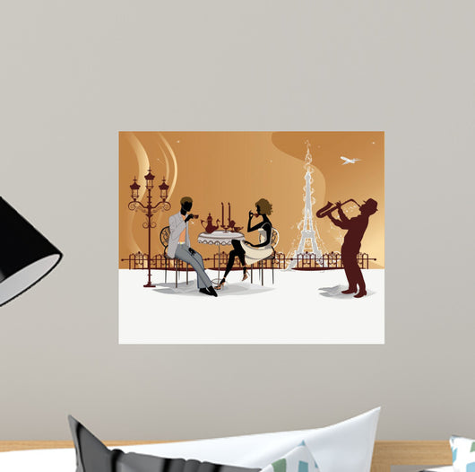 Romantic couple drinking coffee in the Paris restaurant Wall Mural
