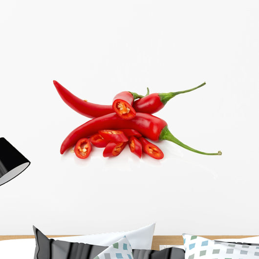 red chilly peppers with slices isolated on the white background Wall Decal