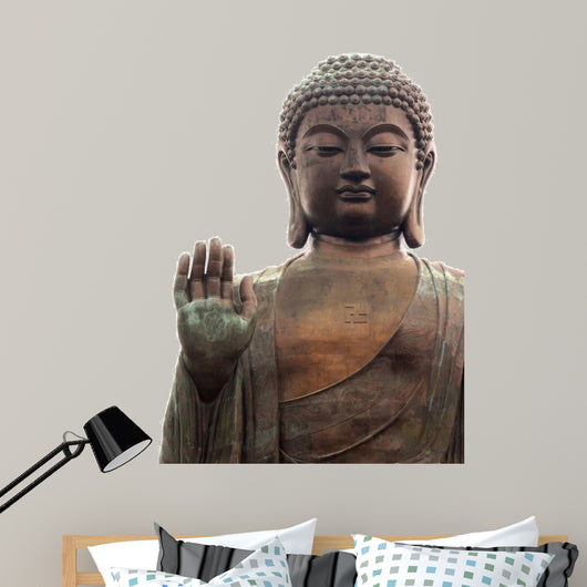 Big buddha isolated on white Wall Mural