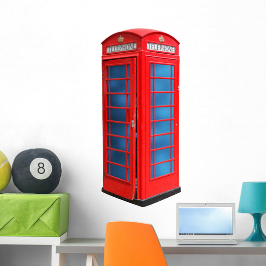 Classic British red phone booth in London UK, isolated on white Wall Decal