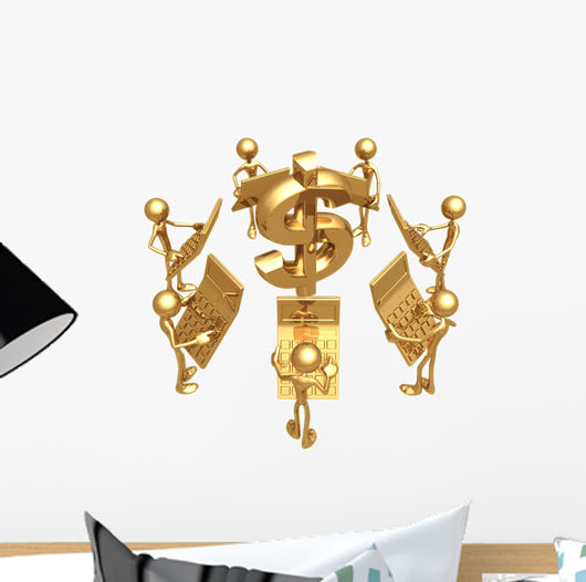 Accounting Team With Golden Calculators Dollar Symbol Wall Decal