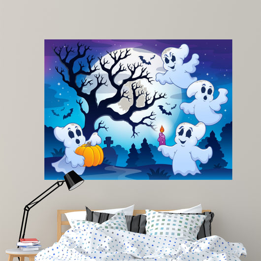 Spooky tree theme image 4 Wall Mural