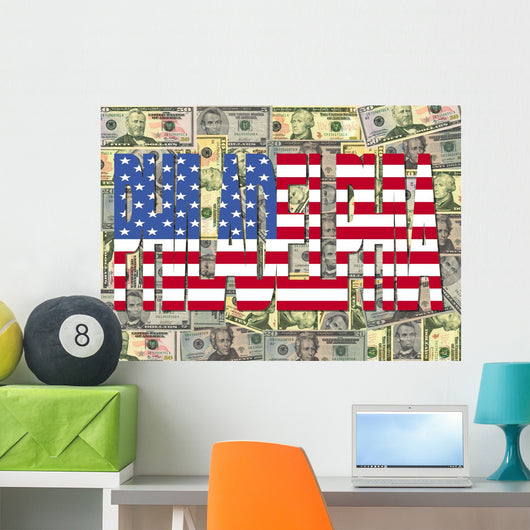 Philadelphia with American Dollars Wall Mural