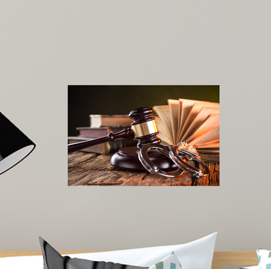 Wooden Gavel And Books Wall Mural Wallmonkeyscom