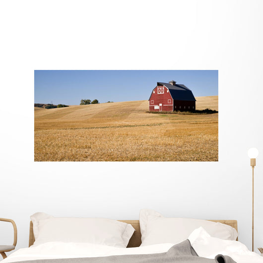 Red Farm Barn Cut Straw Just Harvested Wall Mural