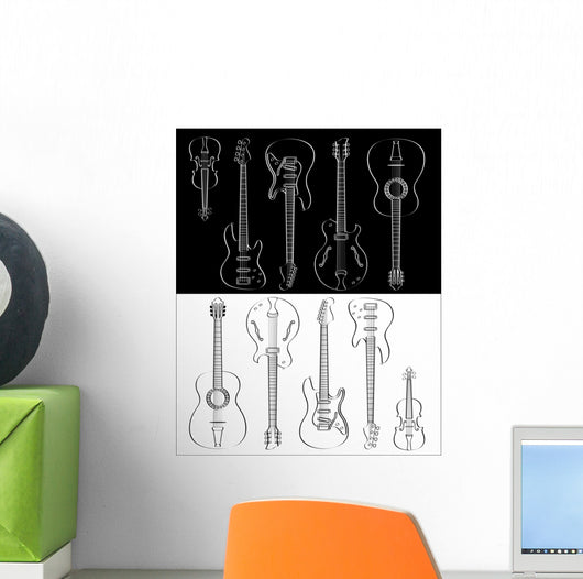 set of guitar and violin Wall Mural