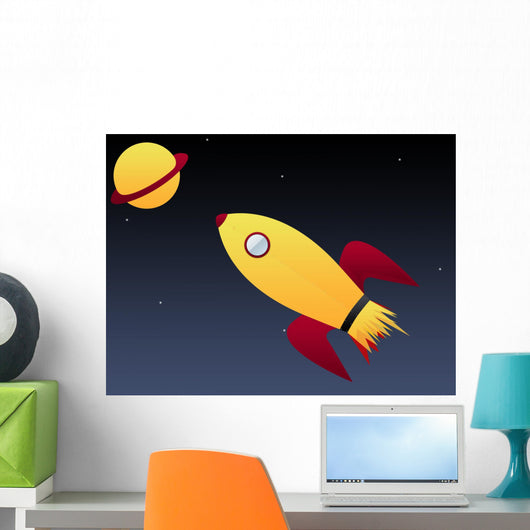 Blasting Space Ship Wall Mural