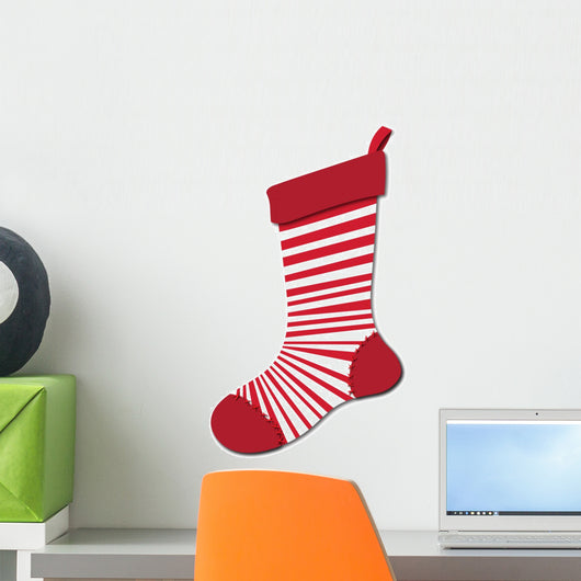 Peppermint Christmas Stocking Wall Decal