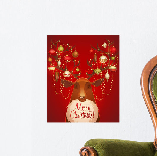 Reindeer with Christmas Decorated Wall Mural