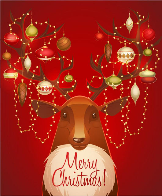 Reindeer with christmas decorated horns. Greeting card Wall Mural