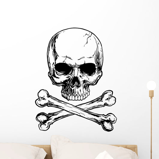 Black and white skull and crossbones isolated Wall Decal