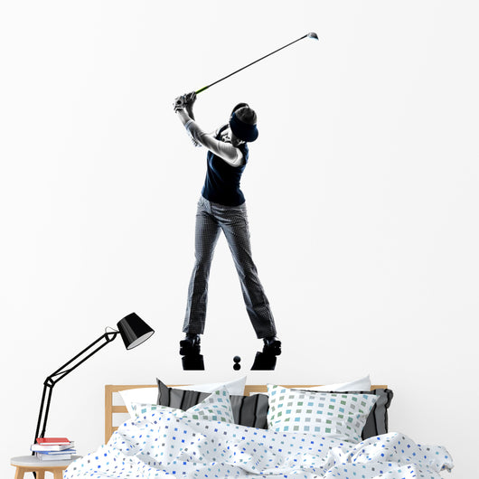 woman golfer golfing silhouette Wall Decal