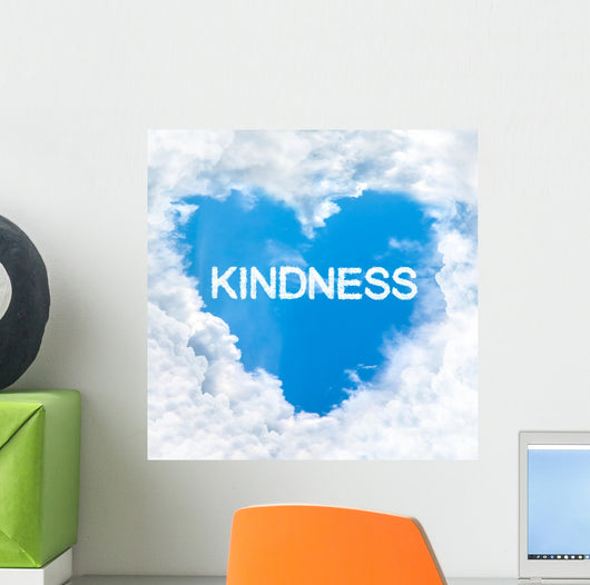kindness word inside love cloud blue sky only Wall Mural
