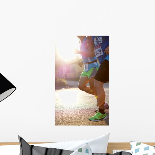 marathon runners morning Wall Mural