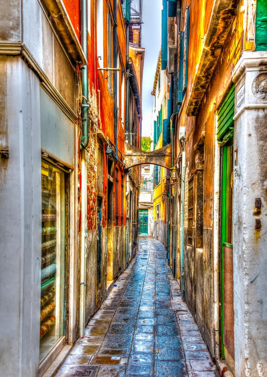 Narrow stone made street at Venice Italy. HDR processed Wall Mural
