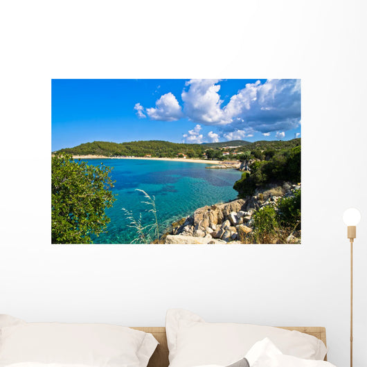 Beachscape of Aegean sea, Destenika beach, Sithonia Wall Mural