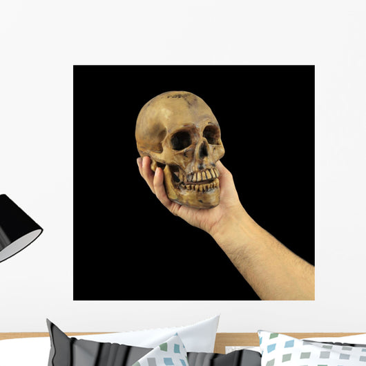 Holding human skull in hand. Conceptual image. Wall Mural