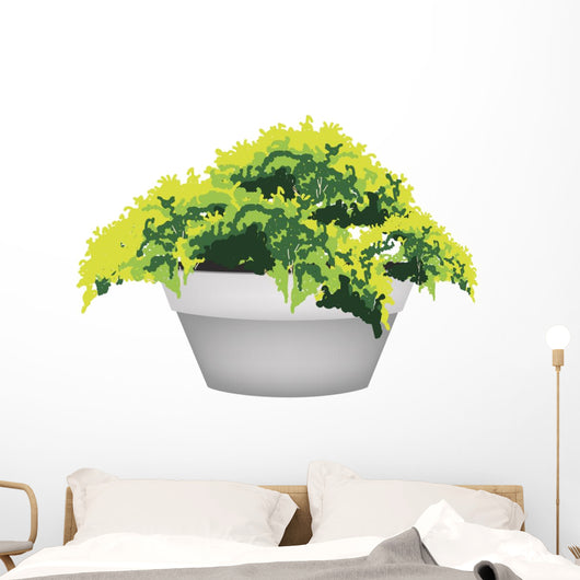 Illustration of Evergreen Plant in Flower Pot Wall Decal