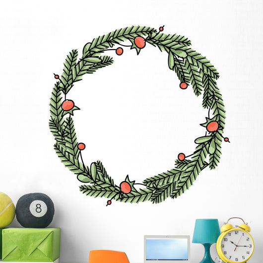 Floral Christmas wreath Wall Decal