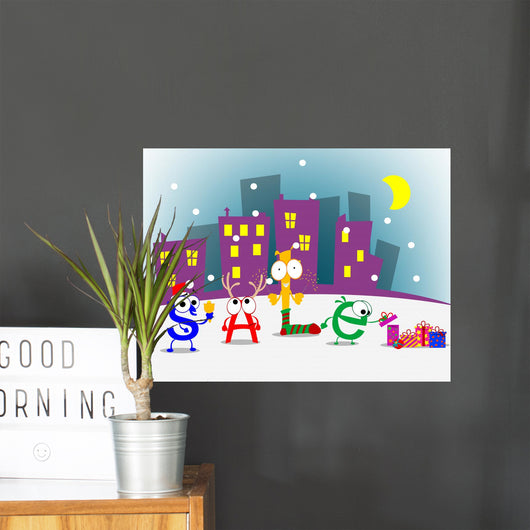 Fun cartoon letters announcing discount. Vector eps 10 Wall Mural