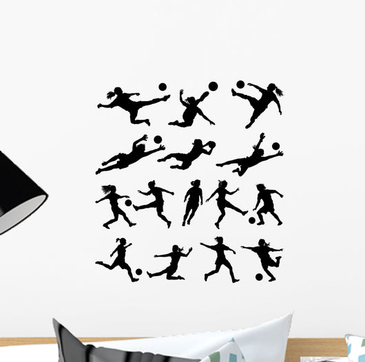 Women Playing Soccer Vector Wall Stickers
