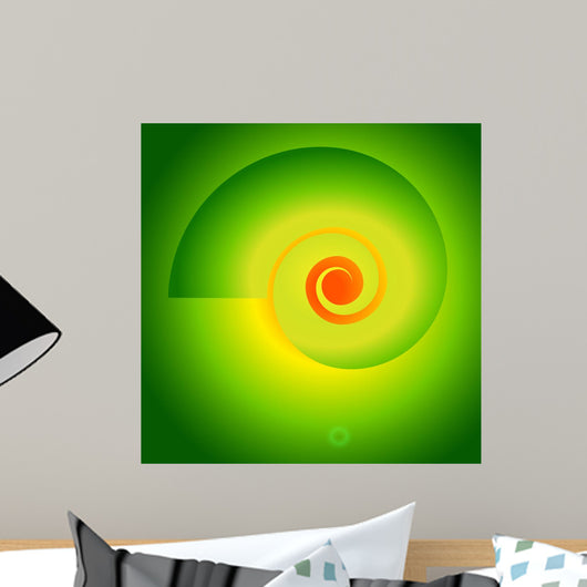 Fibonacci-spiral-vortex-on-a-bright-green-background Wall Mural