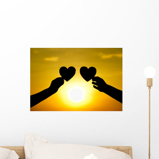 hands holding hearts silhouette Wall Mural