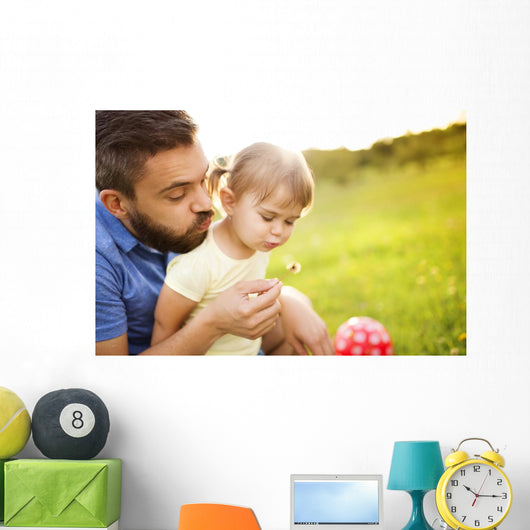 Father and daughter playing Wall Mural
