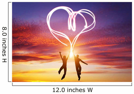 Happy couple in love jump making heart symbol of light Wall Mural