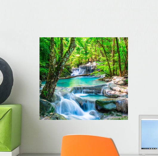 Cool waterfall forest Wall Mural