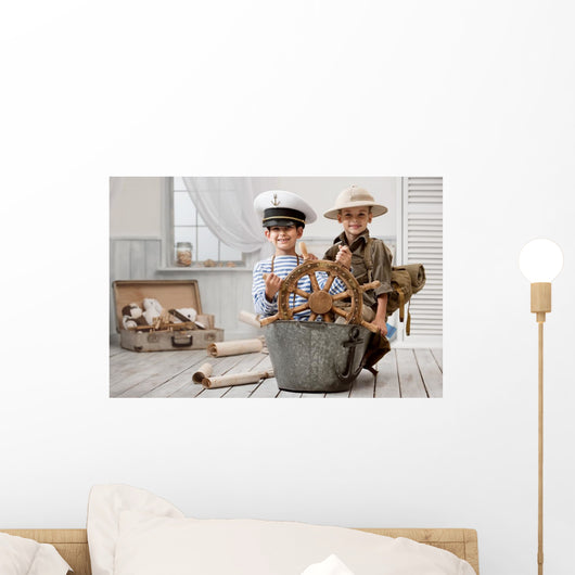 Boys playing captain and traveler Wall Mural