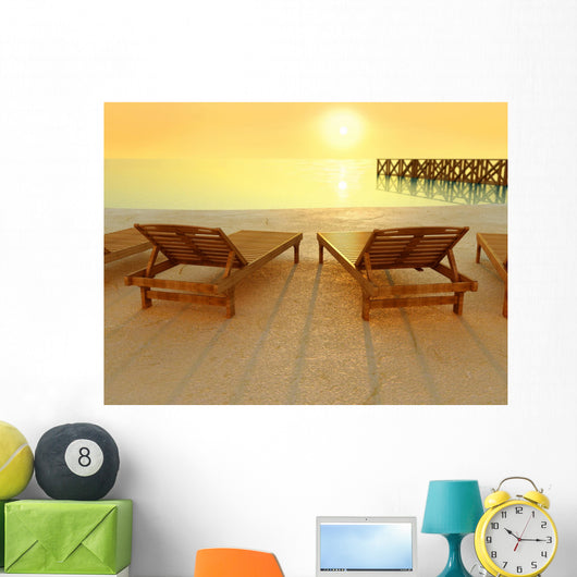 Sunset at the beach Wall Mural