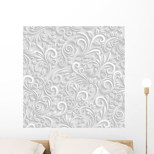 Floral 3d Seamless Background Wall Mural