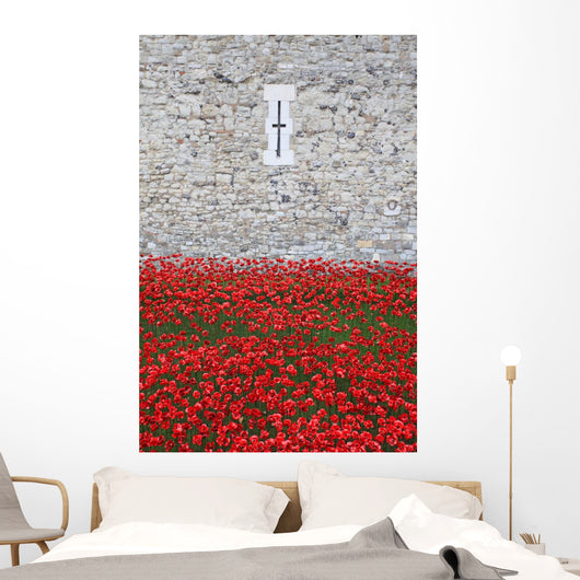 Red Coronation Flowers Wall Mural