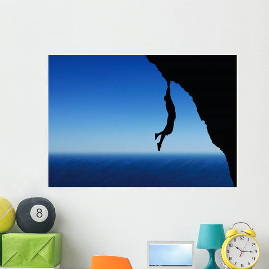 illustration of senior climber man silhouette Wall Mural