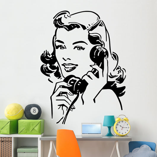 Cute Gal On The Phone Wall Decal