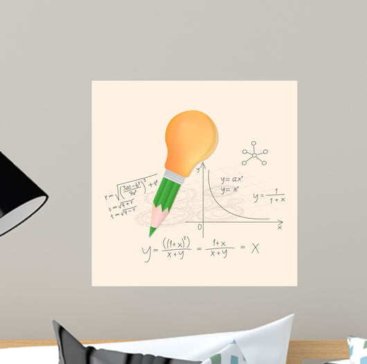 Pencil and lightbulb with math calculations vector illustration. Wall Mural