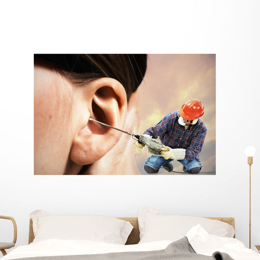 The chipping hammer in the ear Wall Mural