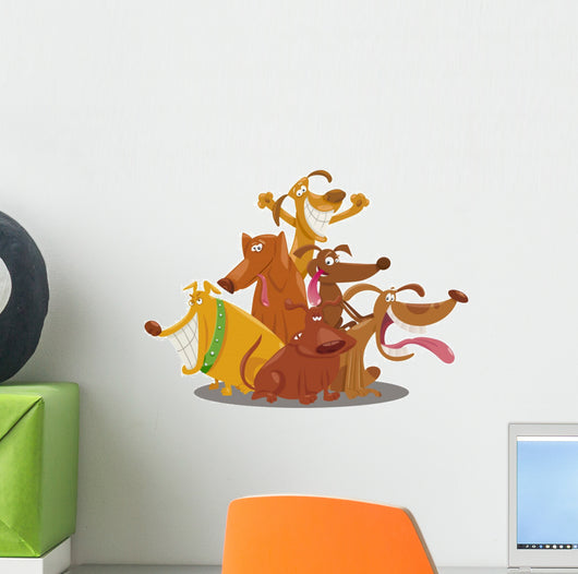 Playful Dogs Group Cartoon Wall Decal