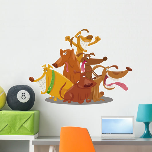 playful dogs group cartoon illustration Wall Decal
