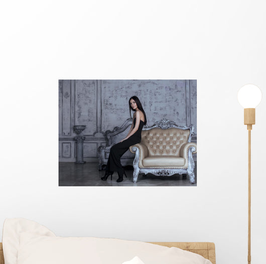 beauty young brunette woman in luxury home interior Wall Mural