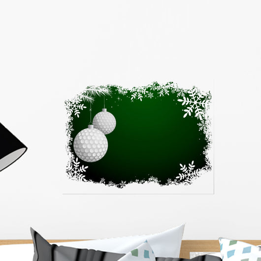 Golf Christmas Background Wall Decal