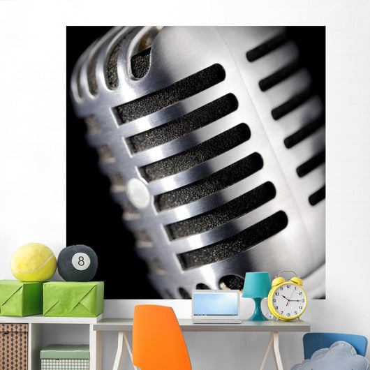 Chrome Microphone Wall Mural