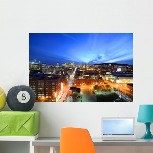 Montreal city skyline at sunset, Montreal, Quebec Wall Mural